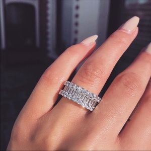 Jewelry - 14k white gold Eternity wedding band baguette 925
